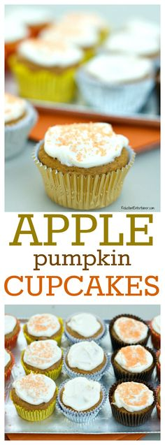 Apple Pumpkin Cupcakes for Fall, Halloween, or Thanksgiving