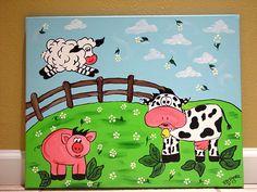 Farm yard animals painting on canvas kids wall art nursery decor;nursery decor, nursery wall decal, nursery wall art,nursery decal;
