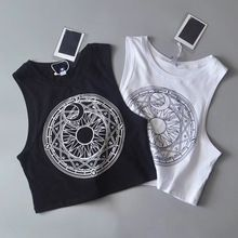 New Womens Tanks Loose Gothic Symbols Moon Sun Printing Crop Top Cropped Top Sleeveless Camis Tank Tops 4.99(China)