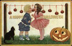 A Happy Halloween - Children Bobbing Apples