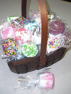 Jumbo marshmallows dipped in chocolate