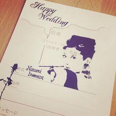 ぉ嫁さんに届いたらしー♡ 彼女の好きそーなネタを探して描き描き♡ 喜んでもらぇたみたぃで満足っ!( ´艸`)♡♡♡ #招待状 #結婚式 #招待状返信アート #ティファニーで朝食を #オードリーヘップバーン #