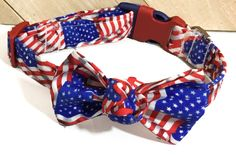 Patriotic Flag Collar with Matching Bow for Male & Female Dogs or Cats /Red White Blue Memorial Day Collar and Bow/ Metal Buckle Upgrade by KVSPetAccessories on Etsy Day Collar, Metal Engraving, Cat Accessories, Metal Buckles, All Dogs, Red White Blue, Your Pet, Collars, Dog Cat