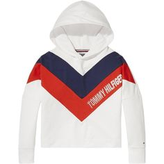 Tommy Hilfiger Girls Colour Block Hooded Sweat Top ($71) ❤ liked on Polyvore featuring tops, hoodies, white top, color-block hoodie, layered hoodie, tommy hilfiger hoodie and tommy hilfiger