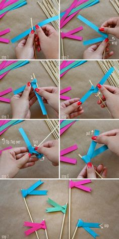 Use these for next bday party: Paper ribbon flags DIY Papier Diy, Mini Flags, Paper Ribbon, Diy Ribbon, Blue Ribbon, How To Make Paper, Baby Crafts, Diy Party, Party Favors