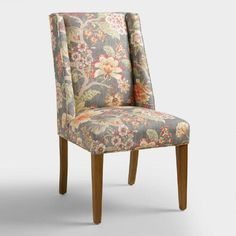 Cost Plus World Market - Room with a View Floral Lawford Dining Chair by World Market Egg Swing Chair, Swinging Chair, Swing Chairs, Side Chair, Fabric Dining Chairs, Dining Table Chairs, Ikea Chairs, Dining Area, Blue Chairs