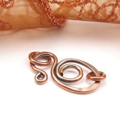 Copper Clasp Finding, Wirework Fastener, Hand-Forged. $8.99, via Etsy.