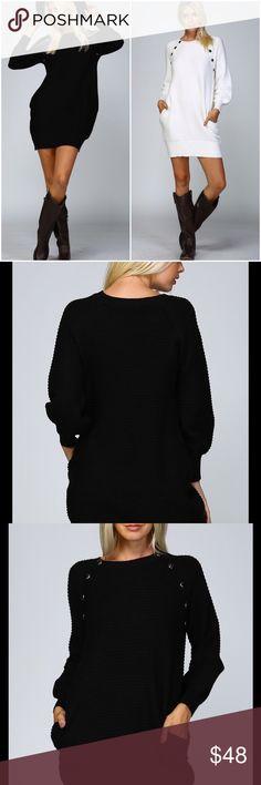 New Black Knit Sweater Tunic Dress Super fabulous knit textured black only sweater tunic dress with side pockets . Button details at shoulder . Nwot Vivacouture Dresses
