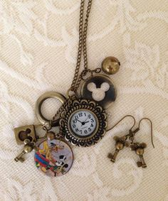 Pendant Necklace:  Antique Bronze, Mickey Mouse Pocket Watch.. $23.00, via Etsy.