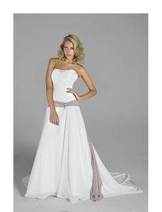 A-Line/Princess Strapless Chapel Train  wedding dress(WEDS0036)