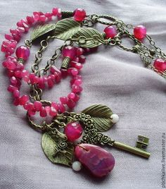 Старый розовый сад. Ожерелье с агатом в стиле бохо - ожерелье бохо,ожерелье с агатом
