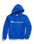 Champion Youth Fleece Hoodie | Champion Pullover Hoodie, Nike Hoodie, Fleece Hoodie, Champion, Crop Top And Shorts, Crop Tops, Script Logo, College Outfits, Athletic Outfits