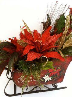 christmas floral arrangements in a sleigh | ... Christmas Sleigh - Poinsettia Sleigh Arrangement - Floral Arrangement
