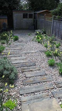 Blog, Railway Cottage in East Barnet Village, Pathway of Concrete Sleepers in Gravel #GardenPath