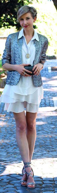 Zara Grey Women's Metallic Sequin Jacket