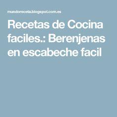 Recetas de Cocina faciles.: Berenjenas en escabeche facil