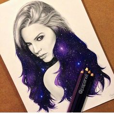 "Color Pencil Drawing Ideas Constellation night sky stars in portrait of girl woman (Colored pencil realistic sketch ""Galaxy girl By _ Amazing Drawings, Cool Drawings, Amazing Art, Pencil Drawings, Galaxy Drawings, Awesome, Drawing Faces, Realistic Sketch, Art Watercolor"