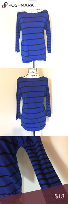 Striped Dolman 3/4 Sleeve Top Cobalt blue 3/4 sleeve dolman top with black stripes. Stretchy material. Sleeves have smaller striping than rest of the shirt, shown in the last picture. Very cute Top that can be dressed up or down. a.n.a Tops