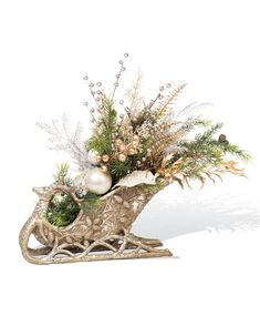 Elegant Holiday Sleigh Centerpiece at Petals Christmas Table Centerpieces, Christmas Arrangements, Christmas Tablescapes, Outdoor Christmas Decorations, Centerpiece Decorations, Christmas Sled, Gold Christmas, Christmas Wreaths, Christmas Ornaments