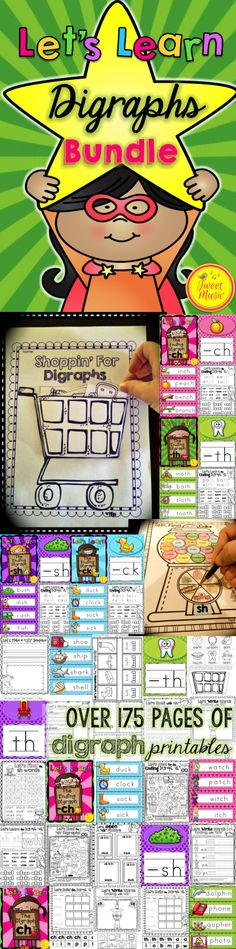 Teach consonant digraphs with this easy to use fun and interactive printables collection! Over 175 pages of activities and printables are included that will provide a comprehensive program for teaching the following consonant digraphs: initial digraphs-ch, th, wh,sh, final digraphs-ch, sh, th, ck, tch, and a mini package on ph is also included. FREEBIE IN THE PREVIEW. $