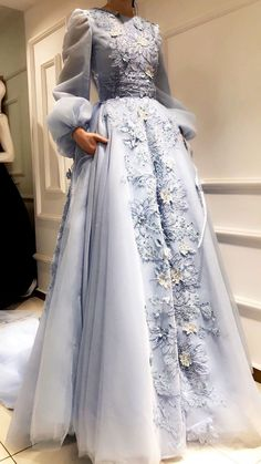Prom dresses with sleeves - Long Puff Sleeves Evening Prom Dresses, Sweet Flowe Applique Wedding Dress, Floor Length Party Dress – Prom dresses with sleeves Hijab Prom Dress, Muslimah Wedding Dress, Hijab Evening Dress, Muslim Wedding Dresses, Women's Evening Dresses, Prom Dresses With Sleeves, Modest Dresses, Pretty Dresses, Muslim Prom Dress