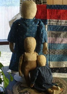Primitive Prairie Doll Old Blue Calico Fabric Dress Squarenails Primitives | eBay