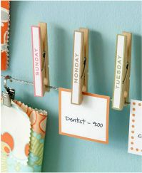 Clothes pins with day of the week on it