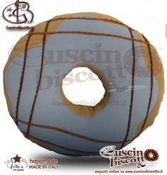Cuscino Biscotto - Ciambella Glassata / Donuts Azzurro1 (Fatto a mano in Italia)