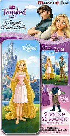 Magnetic Fun® Mini Tin: Disney Princess - Tangled by TOONTOY. $9.90. Magnetic sheet includes clothes, friends, and accessories to act out the magical tale. It is a modern twist on old fashioned paper dolls - no cutting, no tabs - just fun! The colorful tin acts as a play surface, storage container and carrying case. Collect all 7 Princesses.  Each tin consists of:           ?  2 characters printed on the tin         (Aurora and Prince Phillip)      ?  Activity ...