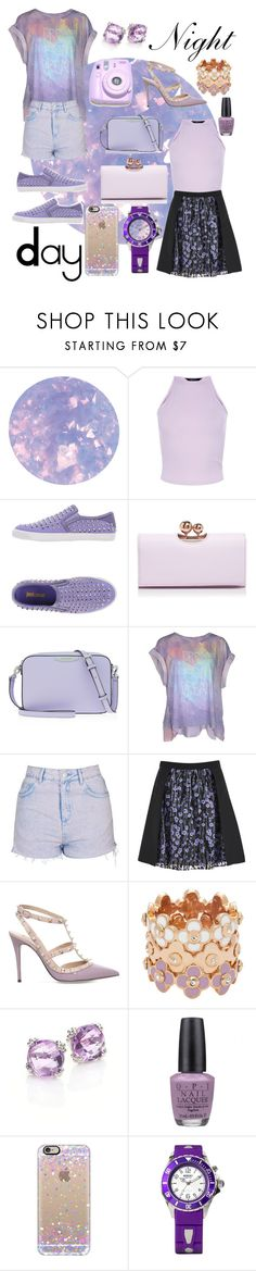 """""""Lilac Dreams"""" by rachel-blum ❤ liked on Polyvore featuring SpaRitual, New Look, Just Cavalli, Ted Baker, Henri Bendel, Wildfox, Topshop, Valentino, Polaroid and Anzie"""