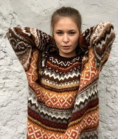 Made to order Fair Isle Norwegian Wool Dress Oversized Fair Isle Knitting Patterns, Fair Isle Pattern, Riga, Fall Sweaters, Sweaters For Women, Fair Isle Pullover, Tejido Fair Isle, Tweed, Icelandic Sweaters
