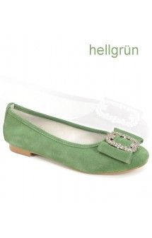 traditional dirndl shoes 2265 green ballerina - Stockerpoint