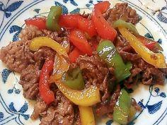 「牛肉とパプリカのカラフル甘辛炒め」甘辛味はお弁当にピッタリ♪【楽天レシピ】