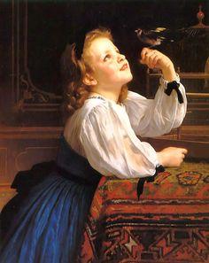 Child with Bird (1867) - William Bouguereau - (French, 1825-1905)