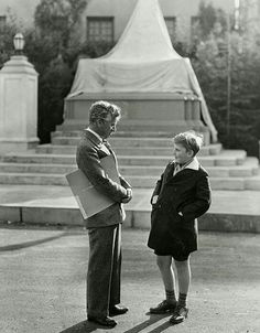 "Charlie Chaplin & child prodigy 12 year violinist Yehudi Menuhin, considered one of the greatest of the 20th Century. In December 1928, Charlie attended a Los Angeles performance of Yehudi, standing backstage he congratulated him, inviting him and his father to the set of ""City Lights"" In a twist of irony - in June 1962 both 73 year old Charlie Chaplin & 46 year old Yehudi Menuhin attended a ceremony at Oxford University, both awarded honorary doctorates."