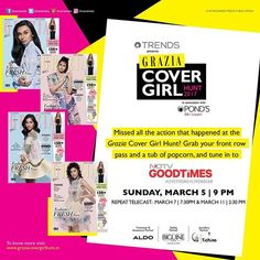 Tune in today at 9pm on NDTV GoodTimes to catch all the action from the #GraziaCoverGirlHunt2017 finale event. @reliancetrends @ponds_india @jeanclaudebiguineindia @aldo_shoes @hrcindia  via GRAZIA INDIA MAGAZINE OFFICIAL INSTAGRAM - Fashion Campaigns  Haute Couture  Advertising  Editorial Photography  Magazine Cover Designs  Supermodels  Runway Models