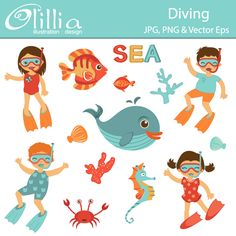 Diving - adorable clipart for invitations, web design, and more.