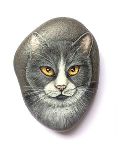 Jasper  #gato #cat #portrait #piedra #arte #paintedstone #rockart #paintedrock…
