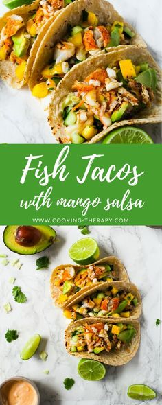 Tacos with Cod and Mango Salsa - Cooking Therapy - Fish tacos recipe with cod and mango salsa. -Fish Tacos with Cod and Mango Salsa - Cooking Therapy - Fish tacos recipe with cod and mango salsa. - After trying a few baked cod recipes, this was the fi. Cod Recipes, Salmon Recipes, Seafood Recipes, Healthy Recipes, Healthy Meals, Diet Recipes, Cod Tacos Recipe, Salsa Recipe, Mango Salsa