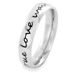 West Coast Jewelry Elya Stainless Steel 'true love waits' Ring