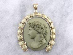 Rare Collectors Quality, Antique Lava Upcycled Cameo Pendant, with Art Nouveau Era 14K Laurel Gold Frame
