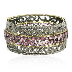 Pink Sapphire And Diamond Cuff Bangle