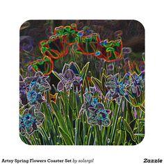 Artsy Spring Flowers Coaster Set