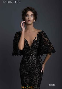 Black Prom Dresses With Sleeves, Lace Evening Dresses, Elegant Dresses, Evening Gowns, Beautiful Dresses, Nice Dresses, Lace Dress, Dress Up, Formal Dresses