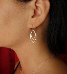 Marquis Dangle Earrings in Sterling Silver, Drop Earrings
