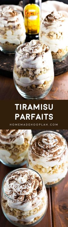 Tiramisu Parfaits! Get ready for summer with these tiramisu parfaits! Sweet mascarpone cheese spiked with Kahlua and layered with coffee syrup infused ladyfinger crumbles.   HomemadeHooplah.com