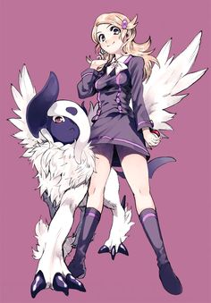 absol ace_trainer_(pokemon) amezawa_koma blonde_hair hair_ornament hairclip mega_absol mega_pokemon poke_ball pokemon pokemon_(game) pokemon_xy ribbon skirt