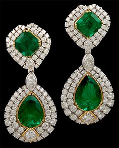 1980's Repossi 18K Two Tone Gold Diamond & Emerald Earrings. Approx. 38cts. of emerald and 15cts. of diamonds