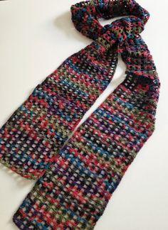 Red Wine Berries & Olives thin echarpe by GabyCrochetCrafts, £52.00 #crochet #scarf #handmade #crafts