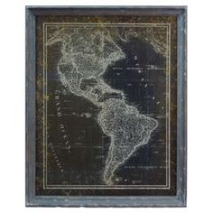 """Framed vintage-inspired map.  Product: Wall artConstruction Material: Wood and glassFeatures: Blue frameDimensions: 28"""" H x 22.5"""" W"""